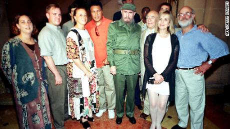 Muhammad Ali and American actor Ed Asner meet with Cuban leader Fidel Castro in Cuba in an undated photograph.