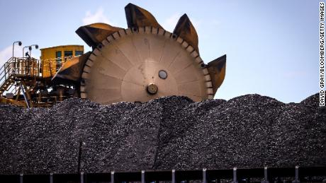 A pile of coal at the Port of Newcastle in New South Wales, Australia, on October 12, 2020.