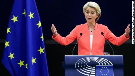 European Commission President Ursula von der Leyen gives a speech during her State of the Union address in Strasbourg, France, on Wednesday.
