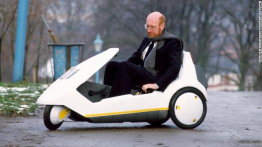 Clive Sinclair, pictured here driving the Sinclair C5 electric car in 1985, saw promise in all of his ideas, even the ones that flopped.