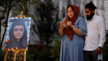 Sabina Nessa's sister pays tribute to her during a candlelight vigil in Kidbrooke on Friday evening.