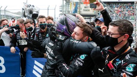 Hamilton celebrates winning the Russian Grand Prix.