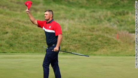 Dechambeau, celebrated on the ninth green during Sunday's singles matches,
