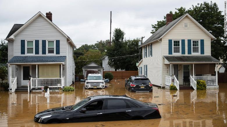 Flooding in Helmetta, New Jersey, after Tropical Storm Henri in August.