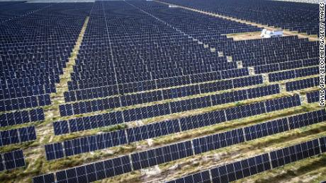 Photovoltaic modules at a solar farm on the outskirts of Gunnedah, New South Wales, Australia.