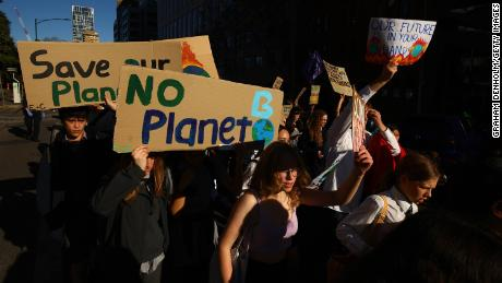 Protesters take part in the School Strike 4 Climate rally on May 21 in Melbourne, Australia.