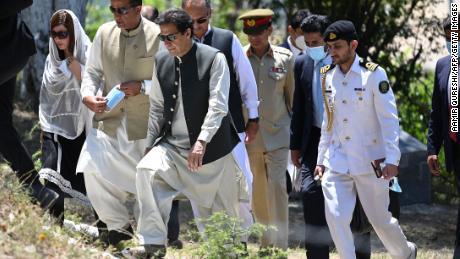 Pakistan Prime Minister Imran Khan, Centre.