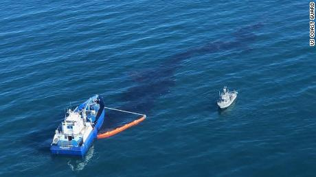 The breach occurred about 5 miles off the coast of Huntington Beach in Orange County.