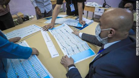 Election commission officials begin to count ballots at a polling station after the Iraqi early general elections end in Baghdad, Iraq on October 10, 2021.