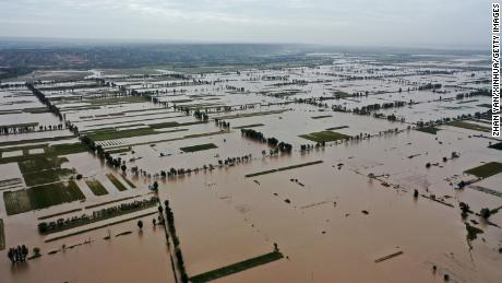 Flooding near Lianbo village, Hejin City, in northern China's Shanxi province, on October 10.