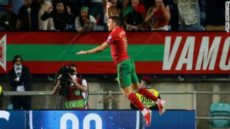 Joo Palinha marks his goal with a Ronaldo-esque celebration.