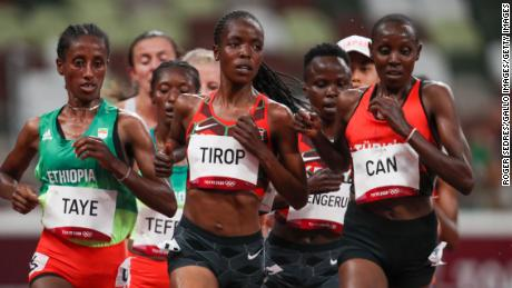 Agnes Tirop in the 5,000m heats at Tokyo 2020.