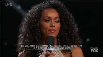 Newly Crowned Miss USA Says Health Care 'a Privilege,' Not a Right