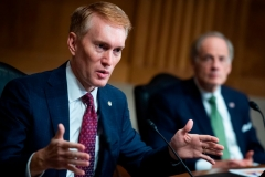 """Sen. James Lankford, R-OK, directs a question to Mark A. Morgan, acting commissioner of the US Customs and Border Protection, during the Senate Homeland Security and Governmental Affairs hearing titled """"CBP Oversight: Examining the Evolving Challenges Facing the Agency"""", in the Dirksen Senate Office Building on June 25, 2020 in Washington,DC. (Photo by TOM WILLIAMS/POOL/AFP via Getty Images)"""