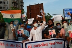 Indians protest in Ahmedabad on Tuesday against the killing of Indian soldiers in a clash with Chinese troops along their disputed border. (Photo by Sam Panthaky/AFP via Getty Images)