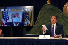 New York Governor Andrew Cuomo speaks at a news conference on July 6 ,2020 in New York City where he announced that President Donald Trump is enabling the coronavirus pandemic by not wearing a mask and downplaying the problem. (Photo by TIMOTHY A. CLARY/AFP via Getty Images)