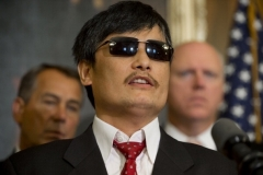 Chen Guangcheng speaks at a press conference at the U.S. Capitol in 2012, three months after arriving in the U.S. (Photo by Saul Loeb/AFP/GettyImages)