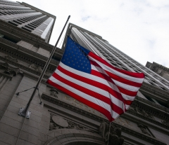 The American flag flies from the Equitable Building September 3, 2020 below Wall Street in the Financial District of New York City. The New York Stock Exchange lost more than 800 points, or nearly 3.5%, due to the plunging value of tech stocks. Since the coronavirus hit, tech stocks have had a dramatic rise in value. (Photo by Robert Nickelsberg/Getty Images)