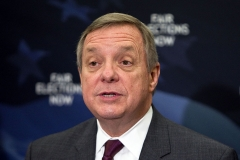 Senate Majority Whip Richard Durbin (D-Ill.) makes a few remarks at The Fair Elections Now Act news conference at Capitol Hill on April 6, 2011 in Washington, DC. (Photo by Paul Morigi/WireImage)