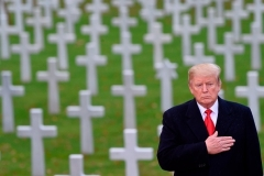 President Trump pays tribute to fallen American military personnel at the American Cemetery of Suresnes, outside Paris, on November 11, 2018. (Photo by Saul Loeb/AFP via Getty Images)