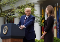 Judge Amy Coney Barrett is nominated to the US Supreme Court by President Donald Trump in the White House Rose Garden on September 26, 2020. (Photo by OLIVIER DOULIERY/AFP via Getty Images)