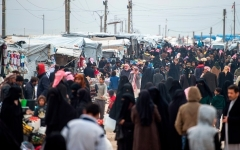 The overcrowded Al-Hol camp in northeastern Syria, where captured ISIS jihadists and family members are held along with others displaced by the fighting. (Photo by Fadel Senna/AFP/Getty Images)