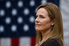 Judge Amy Coney Barrett is President Donald Trump's third nominee to the Supreme Court. (Photo credit: OLIVIER DOULIERY/AFP via Getty Images)