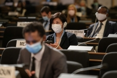 Masked delegates at a U.N. Human Rights Council session in Geneva. (Photo by Fabrice Coffrini/Pool/AFP via Getty Images)