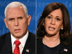 Vice President Mike Pence and vice presidential nominee Sen. Kamala Harris during the vice presidential debate on October 7, 2020 in Salt Lake City, Utah. (Photo by ERIC BARADAT, ROBYN BECK/AFP via Getty Images)