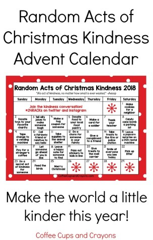 Free printable Random Acts of Christmas Kindness calendar for 2018! December version available too! #24racks #actsofkindness #kindnesscalendar #christmasactsofkindness