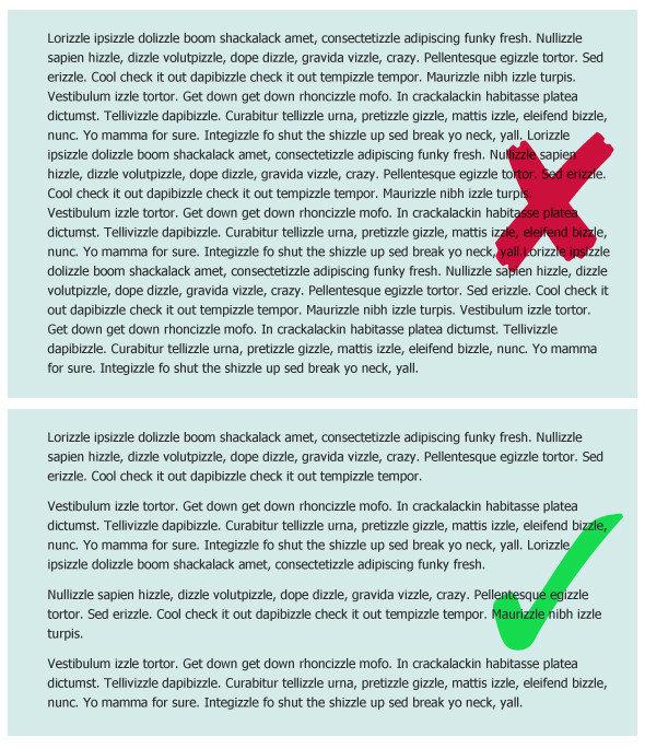 short paragraphs