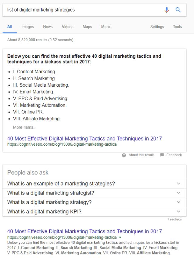 list of digital marketing strategies SERP