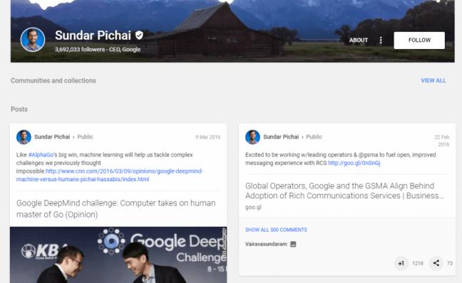Sundar Pichai Google plus
