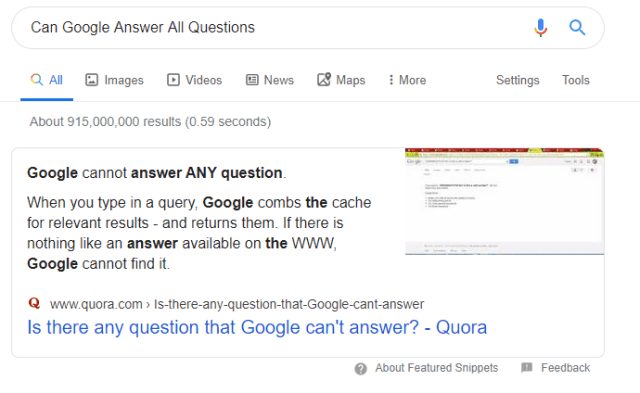 can google answers all questions