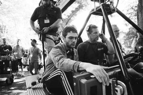 Director Xavier Dolan on set in Central Park, New York City (Photo : Shayne Laverdière).