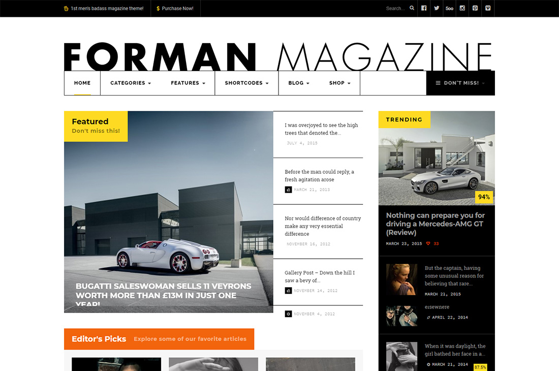 revista de autos forman temas de wordpress