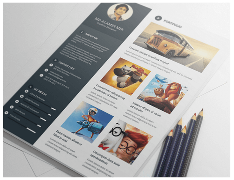 Best Free Resume Templates in PSD and AI in 2018   Colorlib Free Resume Template with Cover Letter by Alamin Mir