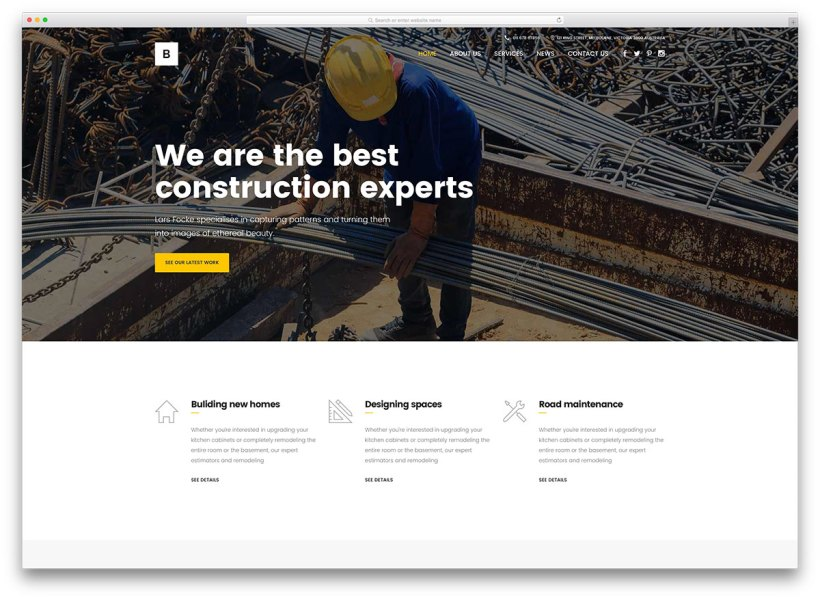 46 Best Construction Company WordPress Themes 2018   colorlib bridge creative construction wp website template