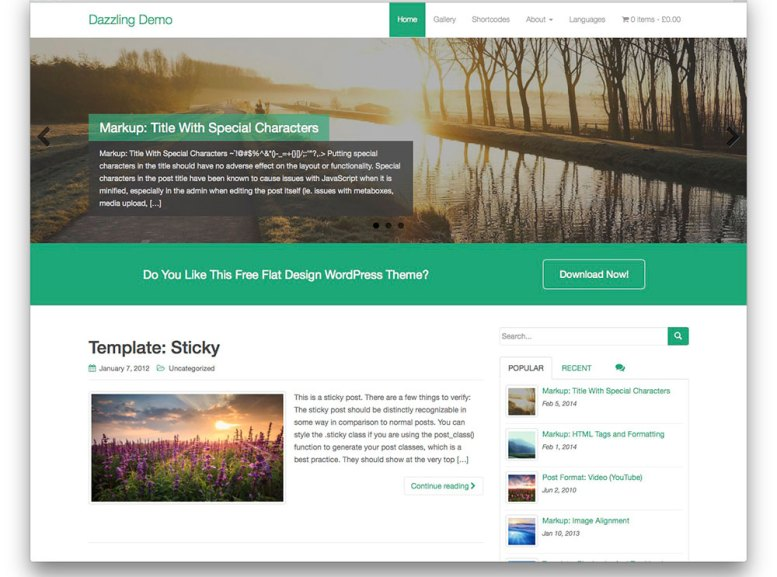 Dazzling ─ Free Bootstrap WP theme