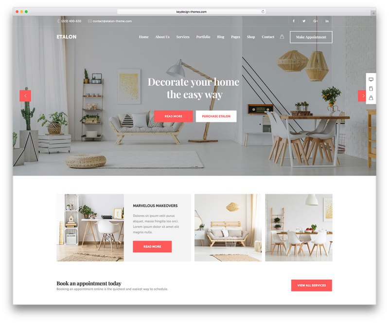 Interior design wordpress themes for Interior decorating websites