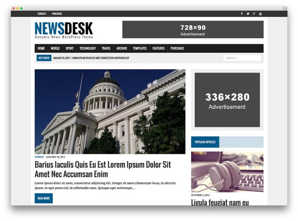 newsdesk magazine Premium WordPress Templates