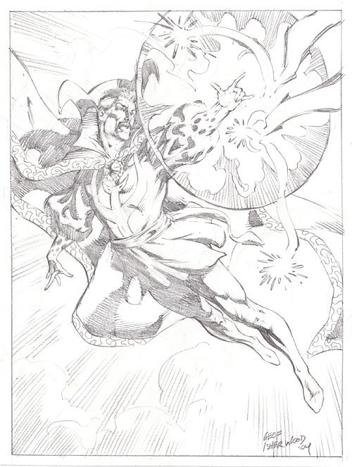 Doctor Strange, pencil art by Geof Isherwood