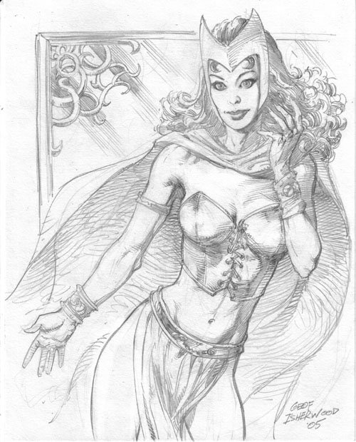 The Scarlet Witch (modern costume), pencil art by Geof Isherwood