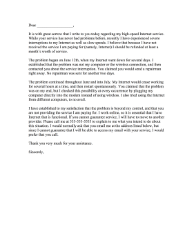 Responding To A Customer Complaint Letter Template