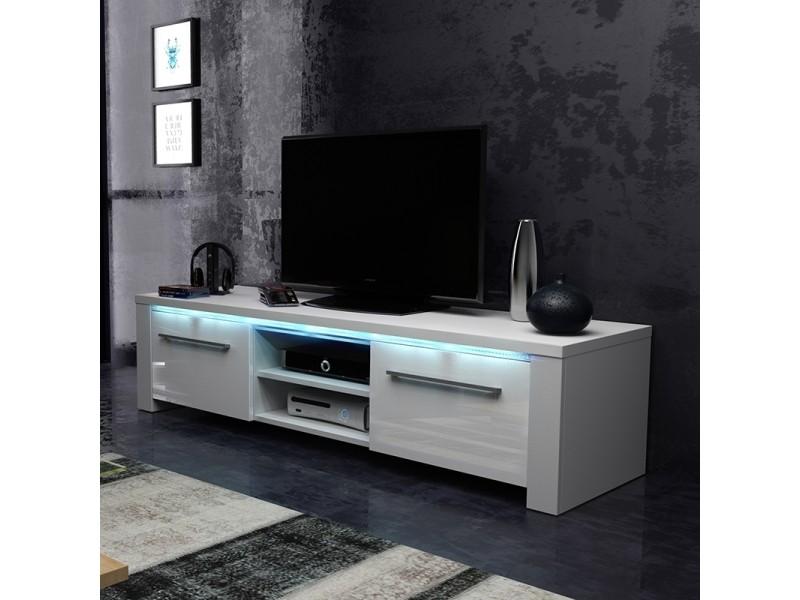 meuble tv banc tv messa 140 cm blanc mat blanc brillant eclairage led