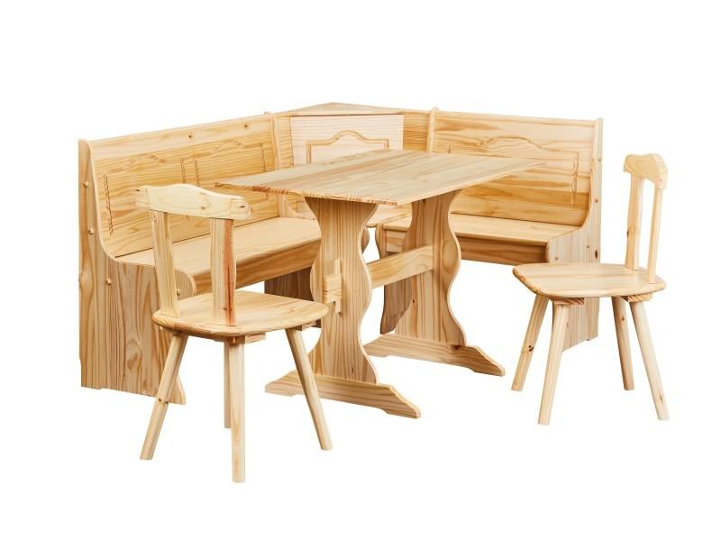 ensemble repas table banc d angle 2 chaises tirol pin massif vernis naturel