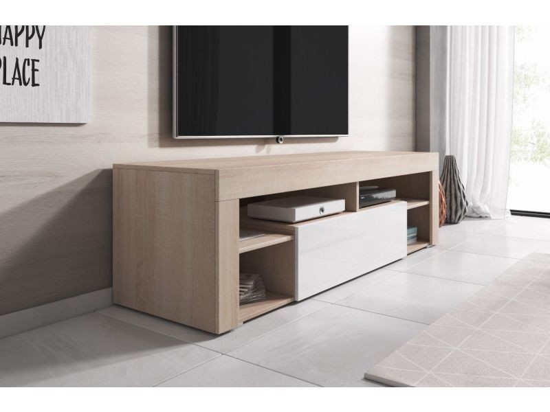 meuble tv bas 140 cm corps aspect chene