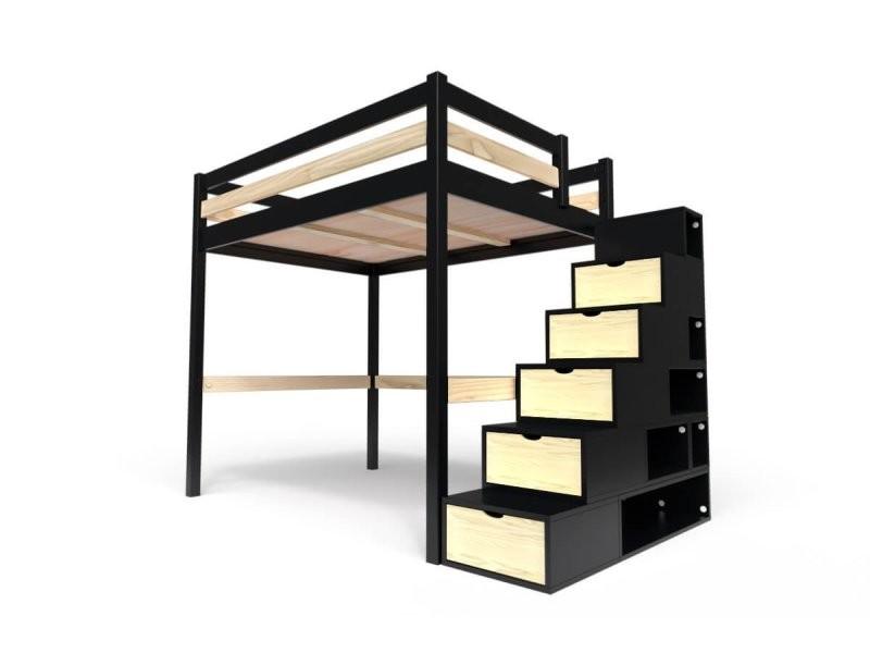 lit mezzanine sylvia avec escalier cube bois 140x200 noir vernis naturel