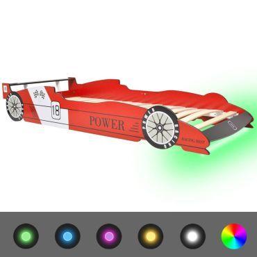 vidaxl lit voiture de course pour enfants avec led 90 x 200 cm rouge j47184916