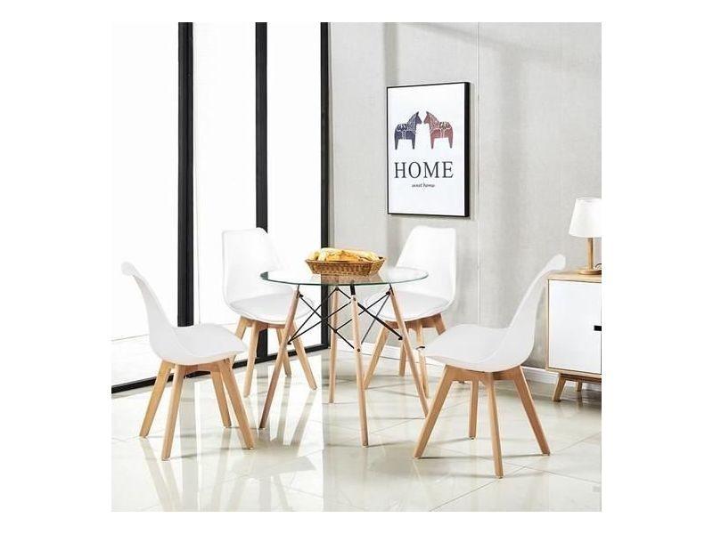 ensemble table ronde a manger de 2 a 4 personnes cuisine scandinave en verre pieds en bois 4 blanc chaises scandinaves 54 54 82cm